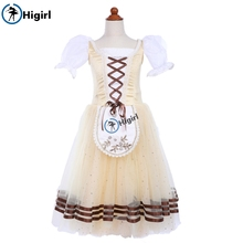 light yellow giselle ballet costume child professional  long tutu dress classical romantic ballerina skirts BT9244