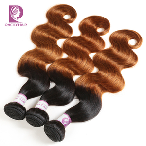 Image 2 - 1/3/4Pcs Ombre Bundles 1B/30 Remy Body Wave Bundles Brazilian Hair Weave Bundles Colored Brown Human Hair Extensions Racily Hair
