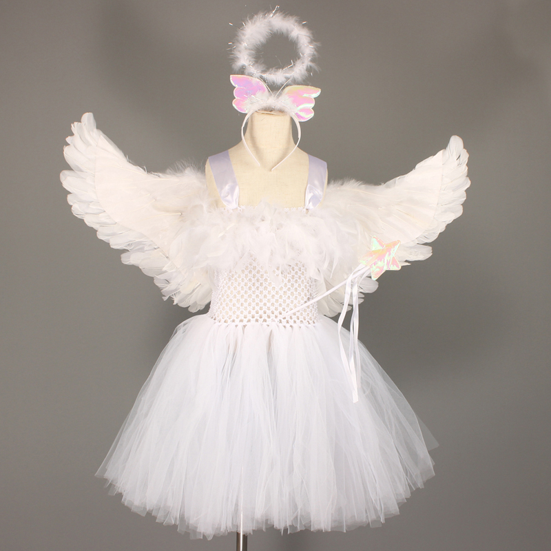 Guardian Angel Kids Halloween Costume White Feather Angel Girls Tutu Dress with Wings & Halo Christmas Nativity Gabriel Clothes (3)