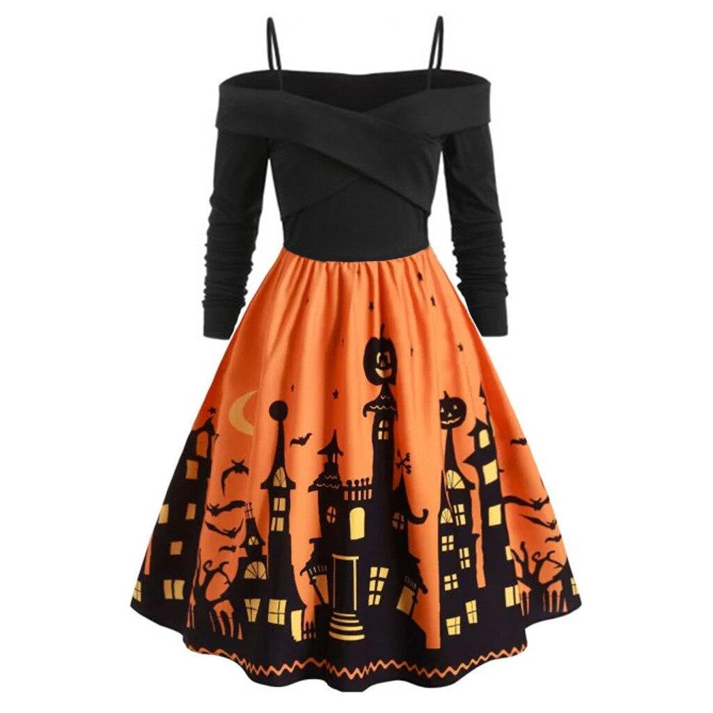 Women Pumpkin Party Print Dress Halloween Long Sleeve V 1