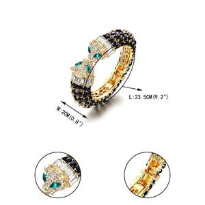 Image 5 - Tuliper Panther Bangles Women Cuff Bracelets Indian Jewelry Femme Black Leopard Animal Crystal Resin Gold Party Gift Pulseras