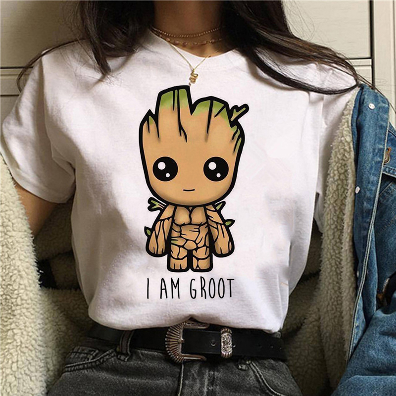 2020The New T-shirt Cute Bady Groot Printed Top Tops Women Tshirt Tee Funny Fashion Vogue Cartoon Anime T Shirt Harajuku Cropped