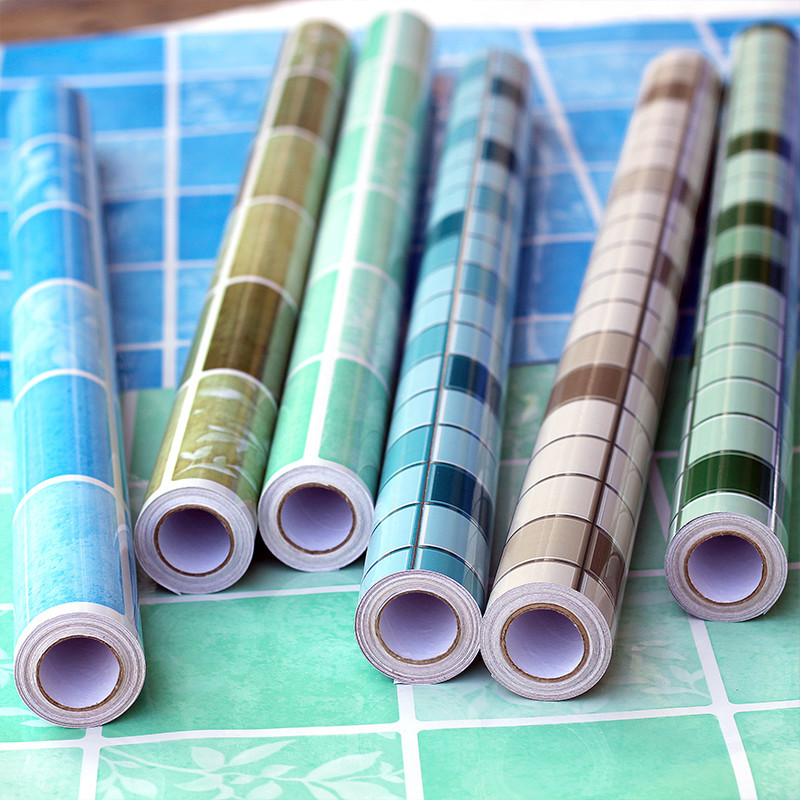 Wallpaper Self-Adhesive Mosaic Thick Bathroom Toilet Waterproof Kitchen Oil Resistant Adhesive Paper PVC Tile Oil Resistant Wall