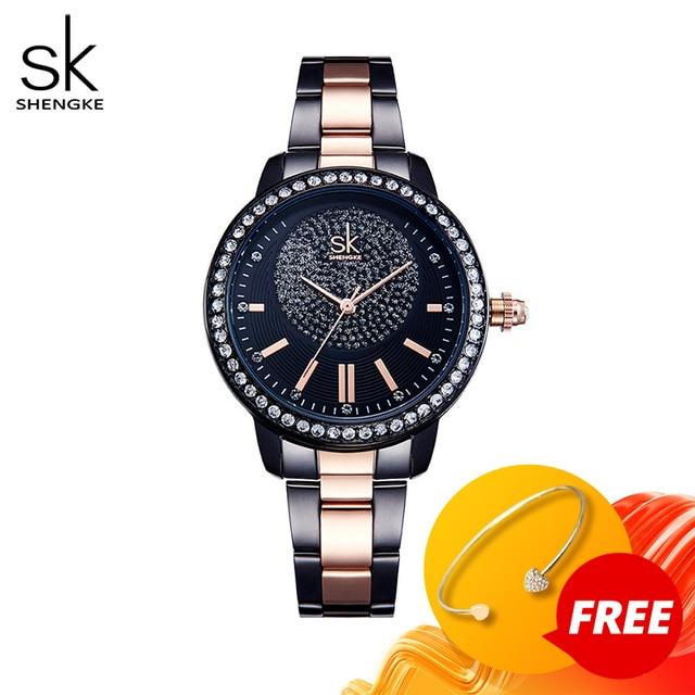 SHENGKE עלה זהב שעון נשים קריסטל קישוט יוקרה קוורץ שעון נשי שעון יד ילדה שעון גבירותיי Relogio Feminino
