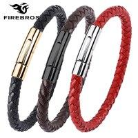 FIREBROS-pulsera de cuero genuino para hombre y mujer, brazalete de Color negro, dorado, plateado, con cierre de acero inoxidable, marrón y rojo