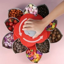 Rotating Flower Petal Fruit Plate Creative Candy Storage Boxes Plastic Lazy Snack Nuts Dish New Year Party Wedding Food Tray
