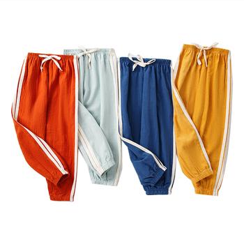 Chłopięce spodnie dresowe dziecięce ubrania dziewczęce leginsy letnie dziecięce dziecięce maluchy czarne Flare dziecięce Khaki różowe lniane Bloomers odzież tanie i dobre opinie SEOKUMPA COTTON Linen CN (pochodzenie) LOOSE Chłopcy NONE Pełna długość Dobrze pasuje do rozmiaru wybierz swój normalny rozmiar