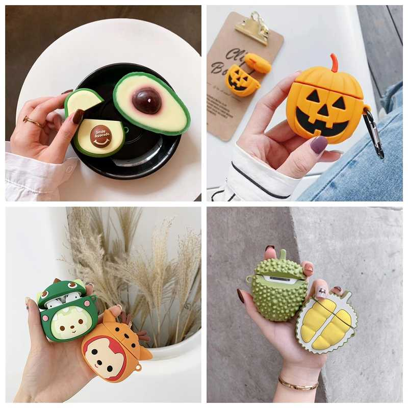Cute Fruit Avocado Pumpkin cessories Earphone Case For Apple AirPods 2 Cover For AirPods Headphone Ear Phone Box Protector Bags