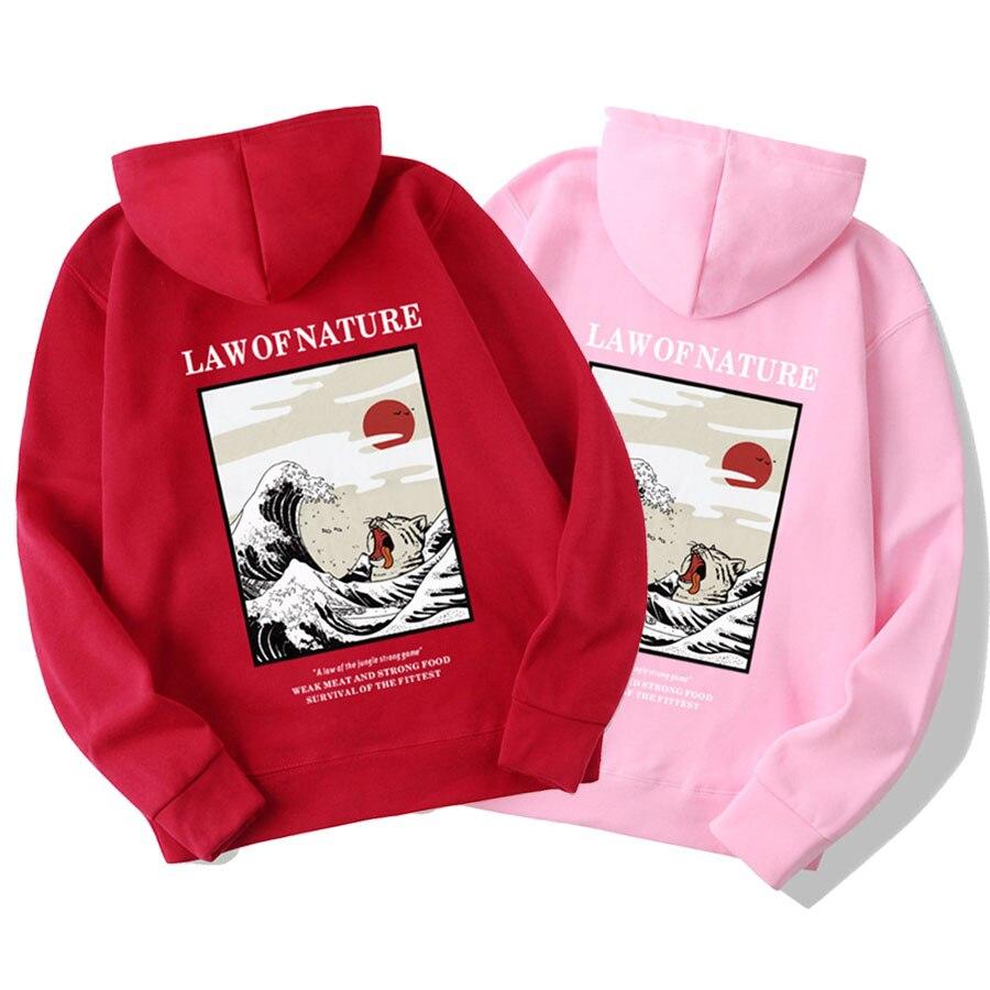Japanese Funny Cat Wave Fleece Hoodies Winter Style Hip Hop men/women Printed hoodie Casual printing Sweatshirts Streetwear 5