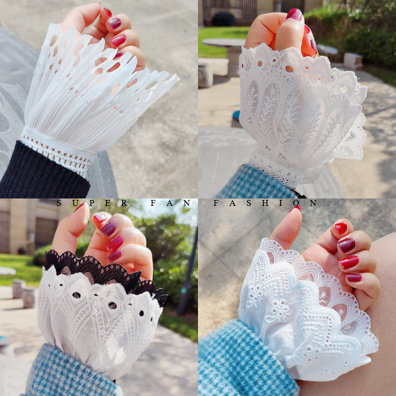 Double-layer Fake Sleeves Lace Hollow Cuff Jewelry Arm Warmers   Sweater Decorative Sleeves Wrist Pleated Fake Cuff Sleeves