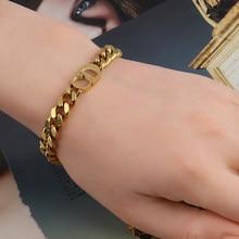 Bracelet chaîne à maillons pour femmes, en acier inoxydable, Punk, lettre, bordure, mode cubaine, cadeaux du nouvel an, 2021
