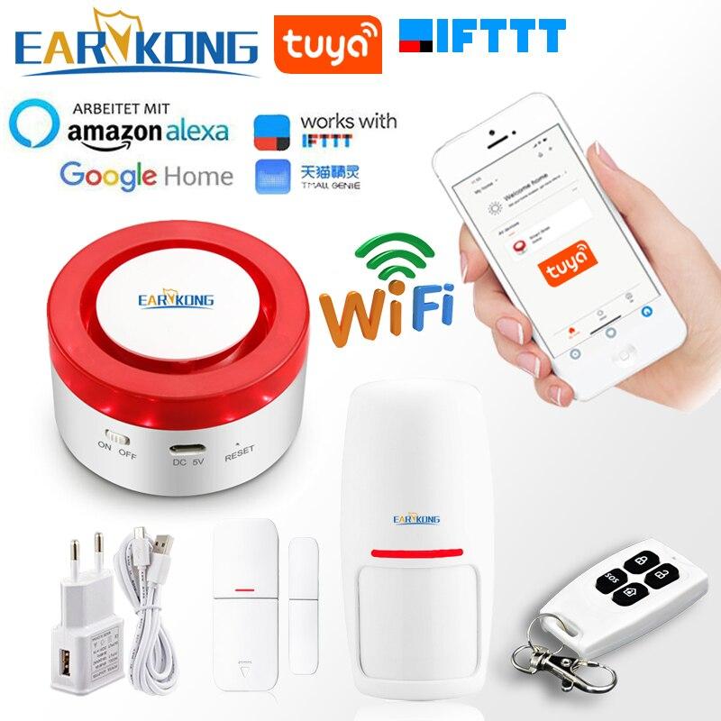 Tuya Smart WiFi Home Security Alarm System 433MHz Wireless Strobe Siren Alarm Compatible With Alexa Google Home IFTTT Tuya APP