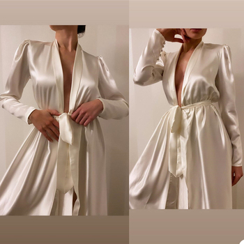 Winter Satin Bathrobe Custom Made Long Sleeves Nightgown Women Sleepwear For Bridal Boudoir Dress image
