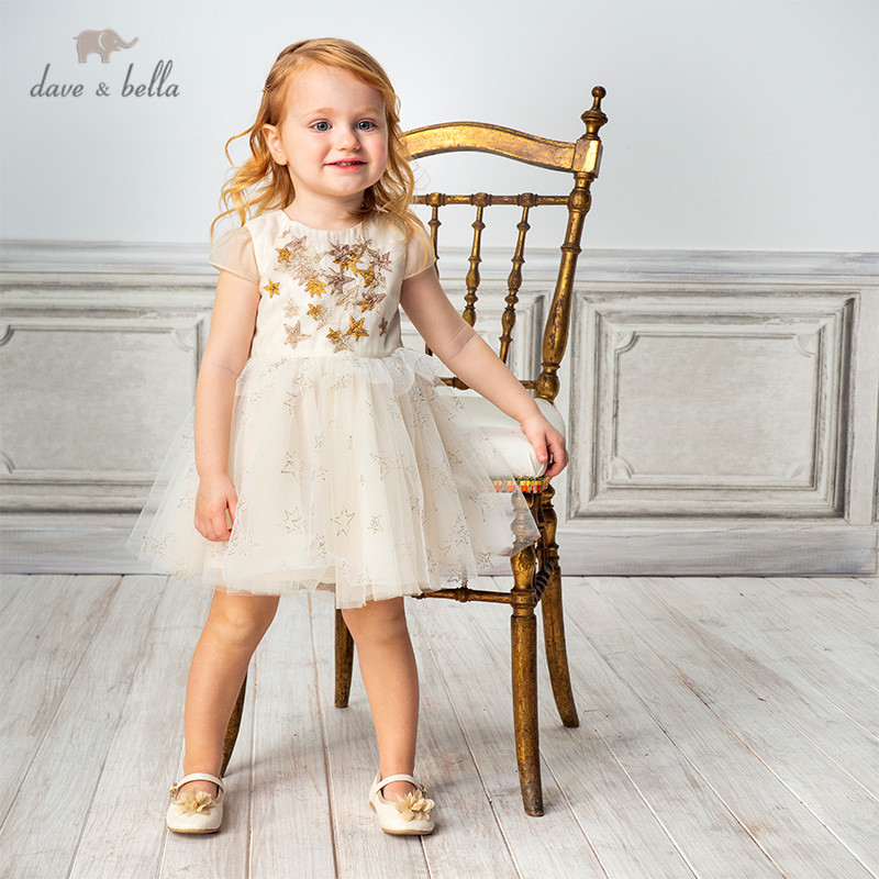 DB11708 dave bella summer baby girl's princess stars appliques dress children fashion party dress kids infant lolita clothes