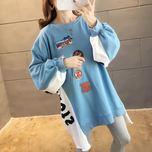 Hoodies Women Autumn Winter New Plus Velvet Sweatshirts Trendy Embroidery Cute All-match Pullover Womens Loose Warm Long Sleeve