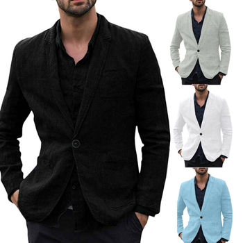 Men Slim Fit Linen Blend Pocket Long Sleeve Suits Jacket Fashion Solid Color One Button Blazer Outwear