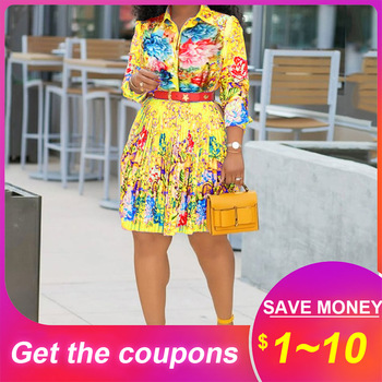 Yellow Women Retro Pleated Dress African Autumn Long Sleeve Elegant Office Lady Workwear Robe Femme Vestiods Flower Print