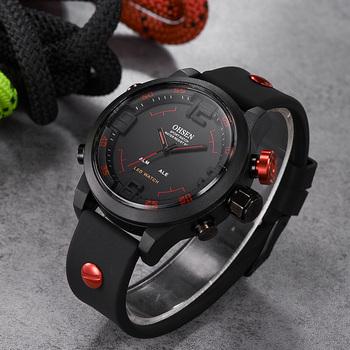 OHSEN mężczyźni zegarki moda cyfrowy zegarek analogowy Quartz LED zegarki sportowe męskie zegarki silikonowe zegarki relogio masculino reloj hombre tanie i dobre opinie Klamra 3Bar Podwójny Wyświetlacz Z tworzywa sztucznego 27cm 14mm 22mm ROUND Skóra ohsen hf132 Stoper Auto data Odporne na wodę