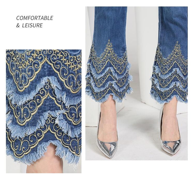 KSTUN FERZIGE Women's jeans brand stretch hight waist blue embroidered bootcut denim jeans flares slim fit women trousers large size 7