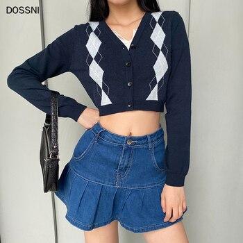 Women Sweater Argyle Plaid Vintage Crop Cardigan Tops Bule Fashion Autumn Long Sleeve Knit Sweater Y2k Lady Winter Clothes 2