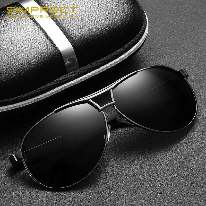 SIMPRECT Polarized Sunglasses Men 2019 TAC UV400 Retro Pilot Sunglasses Vintage Mirror Driver's Anti-glare Sun Glasses For Men