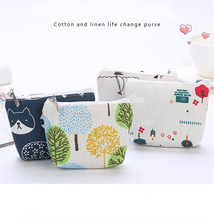 New cotton and linen coin purse student canvas cute key bag mini clutch bag small wallet