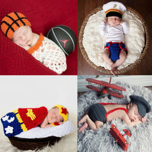 Newborn Baby Photography Props Outfits Basketball Hat Designer Knitting Hoop Set for Boys Girls New Orange Babe Costume