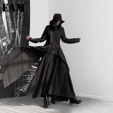 [EAM] 여성 블랙 비대칭 리본 블라우스 새 옷깃 긴 소매 느슨한 맞는 셔츠 패션 조수 봄 가을 2020 19A a544