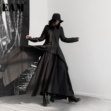 [EAM] ผู้หญิงสีดำอสมมาตรริบบิ้นเสื้อใหม่แขนยาวหลวมFitเสื้อแฟชั่นฤดูใบไม้ผลิฤดูใบไม้ร่วง2020 19A a544