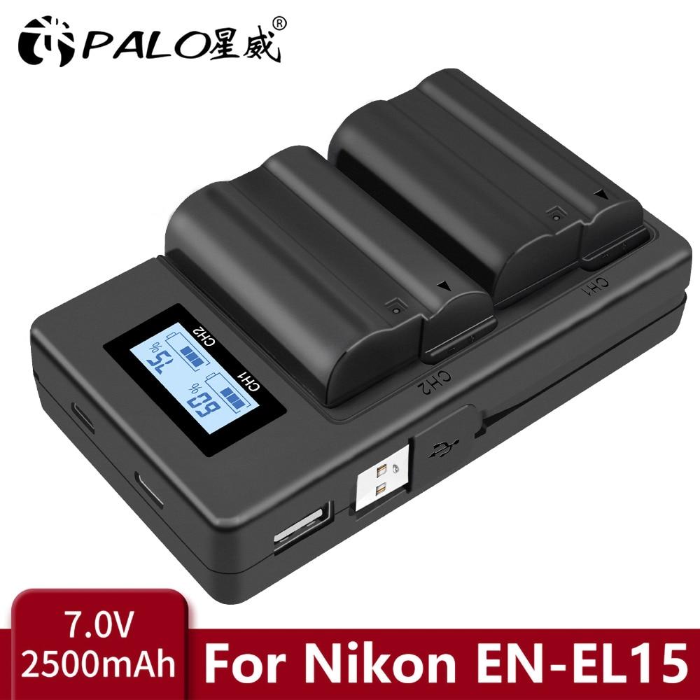 PALO EN-EL15 EL15 EN-EL15a ENEL15a EN EL15a Battery+USB Dual Charger for Nikon D850 D810 D810A D750 D500 D7500 D7200 D7100 D600