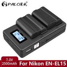 PALO – batterie ENEL15a + double chargeur USB, pour Nikon D850 D810 D810A D750 D500 D7500 D7200 D7100 D600