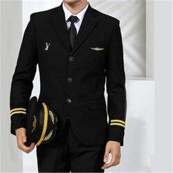 Авиакомпания костюм тонкий капитан рабочая одежда пилот Униформа Армии Униформа пальто + брюки безопасности профессиональные костюмы Спец...