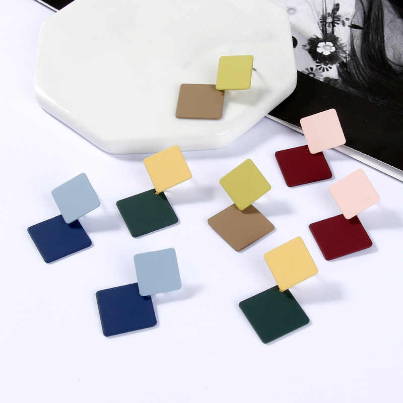 TEH Korean New Geometric Colorful Square Dangle Earrings For Women Fashion Simple Metal Drop Earrings Statement Jewelry Girl