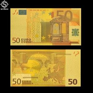 Euro Money Fake Gold Banknote European 50 Currency Bill Artwork(China)
