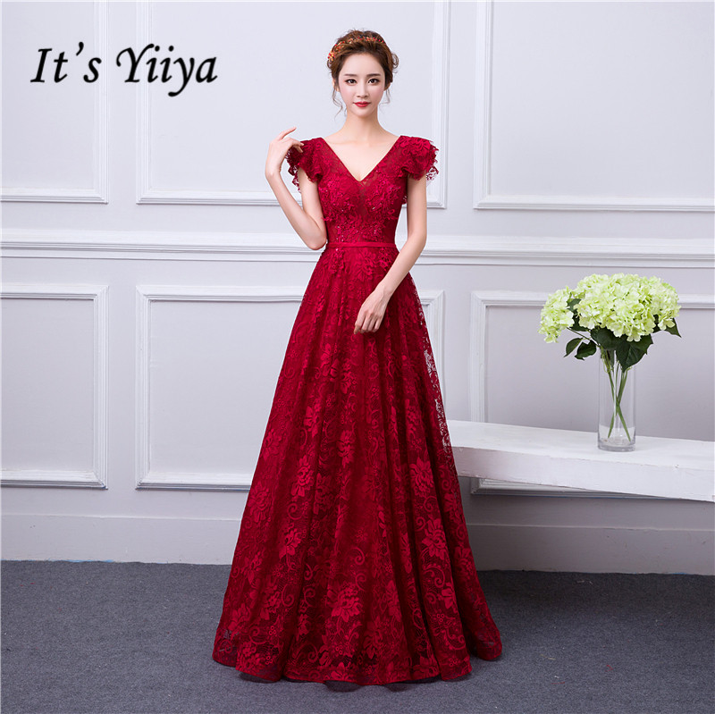 It's Yiiya Evening Dress For Pregnant Women Evening Dresses Plus Size Ormal Gowns V-neck Long Burgundy Robe De Soiree LF171