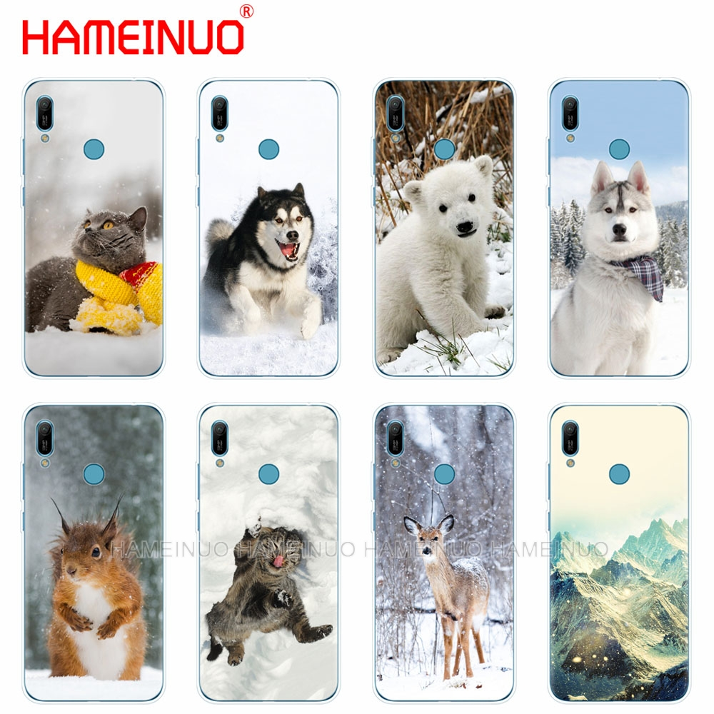 silicon phone cover <font><b>case</b></font> for <font><b>huawei</b></font> Y5 Y6 <font><b>Y7</b></font> Y9 PRO PRIME <font><b>2019</b></font> honor 8s 8a 20 LITE PRO 10i view 20 V20 cat <font><b>dog</b></font> bear deer winter image