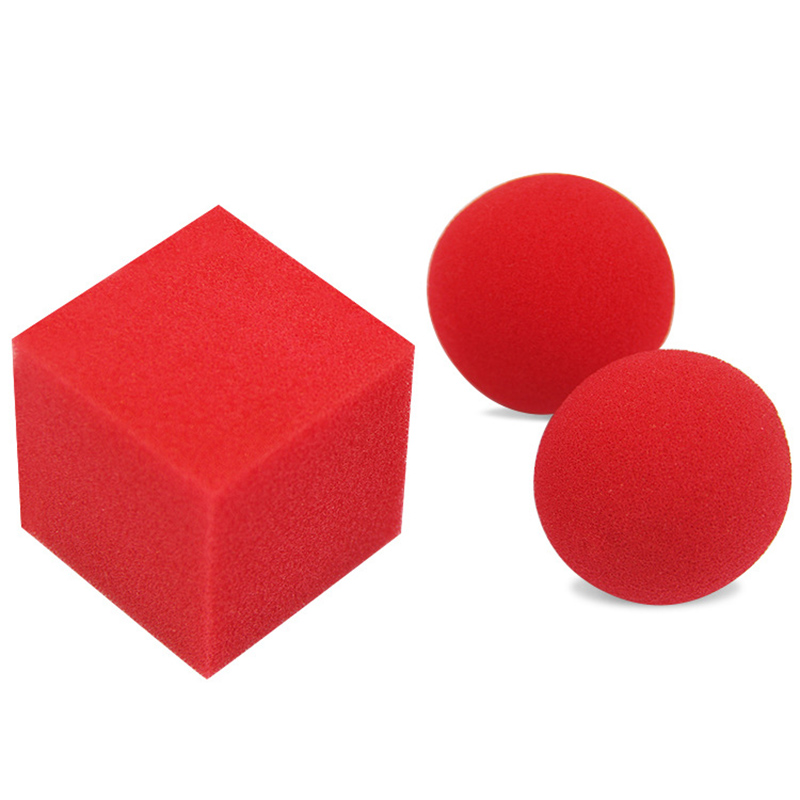 1 Block 2 Sponge Balls Magic Props Toys Close Up Street Classical Illusion Magic Tricks Red Kids Magic Toys