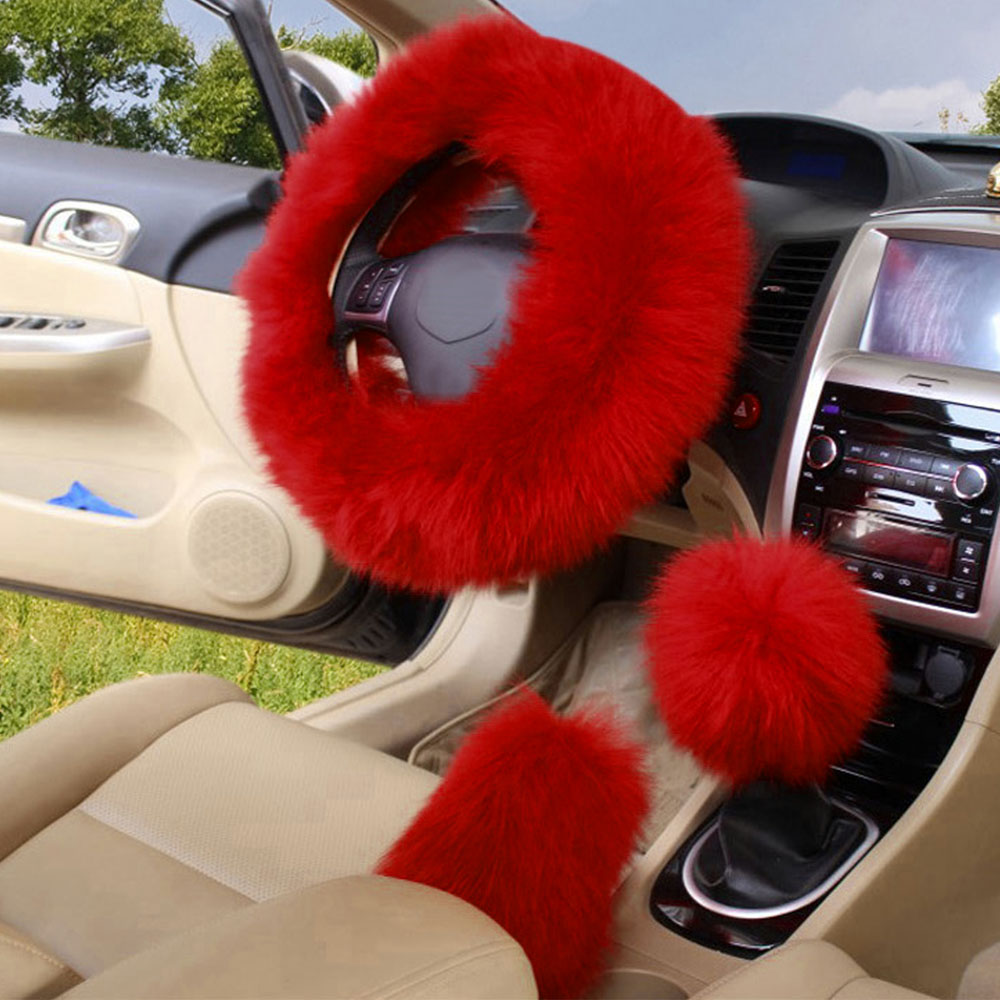 3Pcs/Set Winter Long Wool <font><b>Car</b></font> Steering <font><b>Wheel</b></font> Gear Knob Shifter Parking Brake <font><b>Cover</b></font> Warm Soft Plush <font><b>Women</b></font> Auto Accessories 6Color image