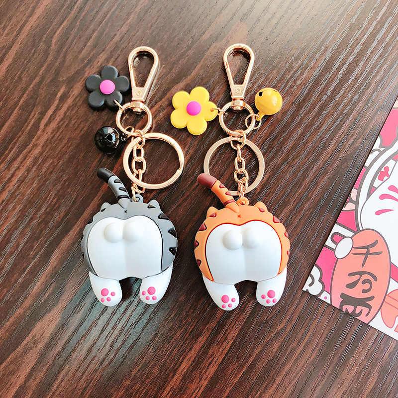 漫画かわいいパロディー猫お尻キーホルダー女性ガール車バッグキーチェーンリング素敵な花動物人形ペンダントキーリング