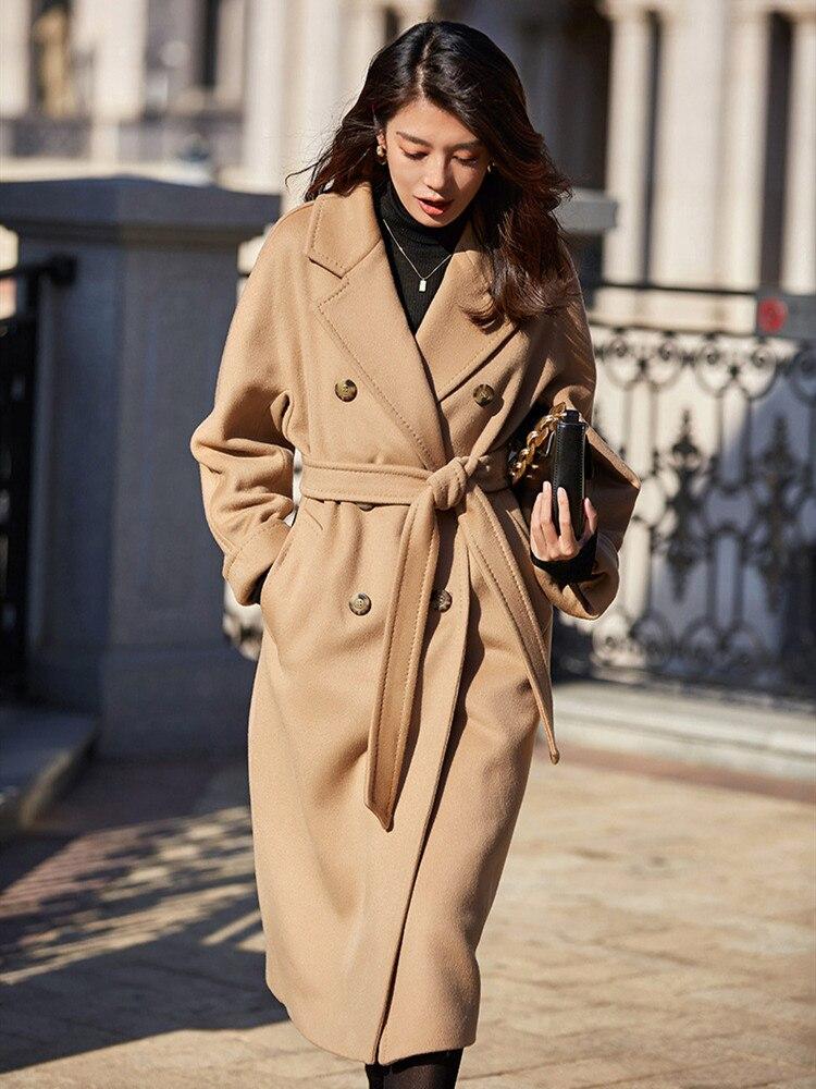 Оригинальный дизайн женское осеннее зимнее Элегантное повседневное теплое 100% шерстяное пальто двубортное с поясом розового/Красного размера плюс шерстяная куртка