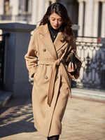 Diseño Original mujer Otoño Invierno elegante Casual cálido 100% abrigo de lana cinturón de pecho doble rosa/rojo chaqueta de lana de talla grande