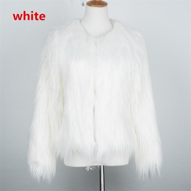 Plus Size Pink Furry Faux Fur Coat Women White Warm Long Sleeve Outerwear Autumn Winter Fluffy Shaggy Coat Jacket Overcoat