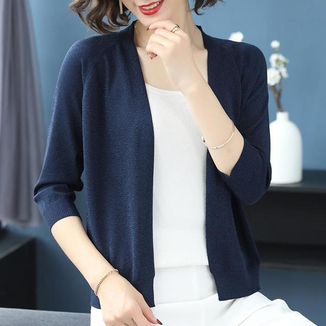 PEONFLY Fashion 2020 Spring Sweater Women Shinny Solid Color Knitted Cardigans Casual Long Sleeve Coat V Neck Women Jumper Blue 4