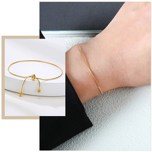 Minimalist Thin Snake Chain Bracelets for Women Length Adjustable Jewelry Gold Color Stainless Steel Christmas New Year Gifts