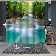 цена на Landscape Painting Shower Curtain Forest And River Decorative Shower Curtain Landscape Bathroom Curtain 2020 Fashion New