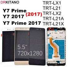DRKITANO 디스플레이 화웨이 Y7 2017 LCD 디스플레이 터치 스크린 디지타이저 화웨이 Y7 프라임 2017 LCD 프레임 TRT L21 TRT LX1