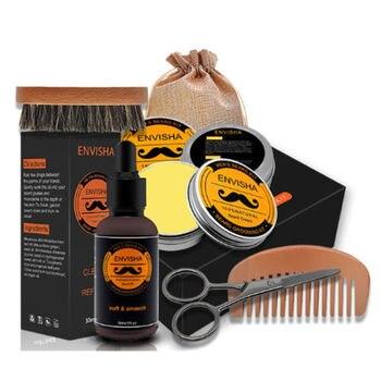 New Beard Care Kit Mustache Grooming Trimming Set Beard Balm Oil Comb Brush Storage Bag Gift 5Pcs Set 1