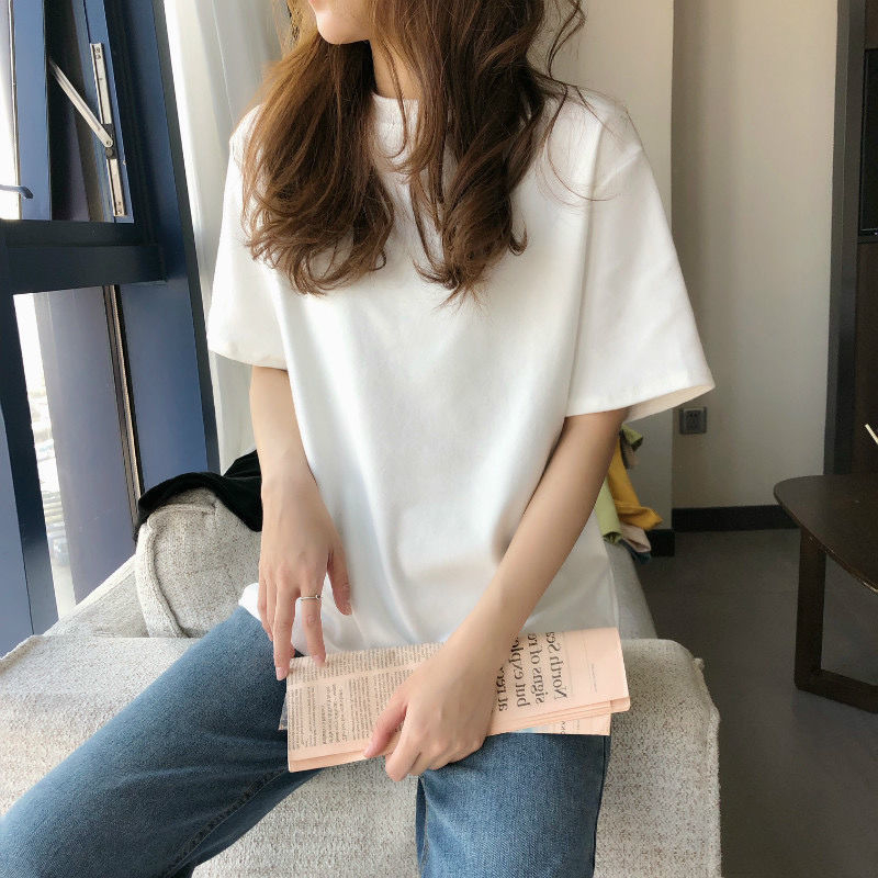 Футболка женская с круглым вырезом, модная простая однотонная хлопковая рубашка в стиле Харадзюку, базовая одежда оверсайз