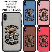 Fabric phone Case Skull Bicycle rider For iPhone 11 Pro MAX XS XR MAX