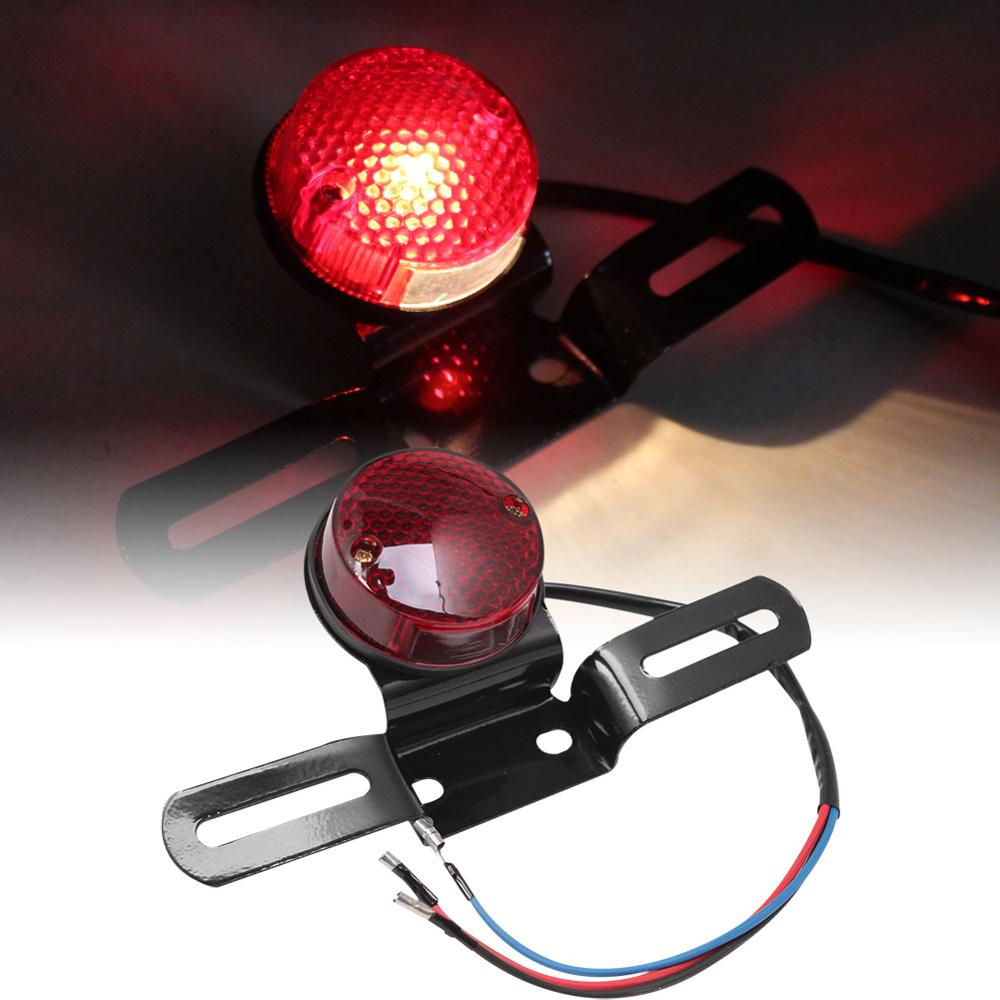 Universal Retro Round Red LED Motorcycle Cafe Racer ATV Tail Brake Stop Running Light License Plate Bracket Custom